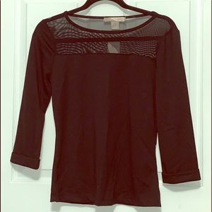 NWT black top with sheer detail